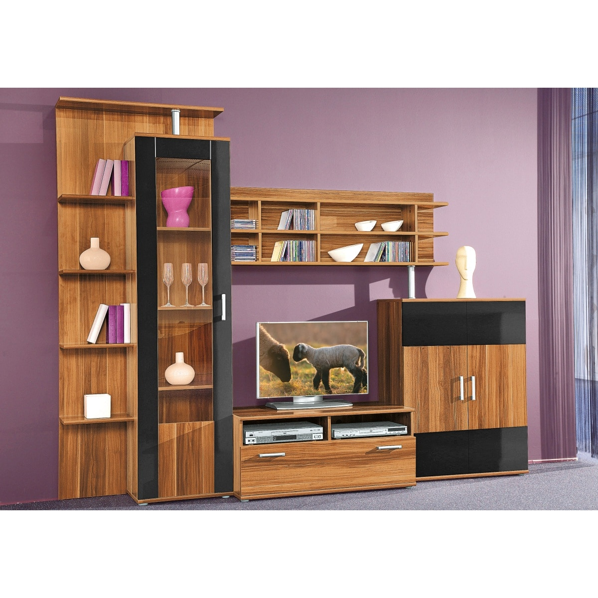 wohnwand nussbaum schwarz ca 275 x 210 x 50 cm wohnw nde wohnen m bel boss. Black Bedroom Furniture Sets. Home Design Ideas