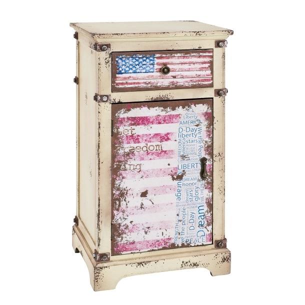 Kommode Amy Vintageoptik/Dekor mit Flagge ca. 40 x 76 x 30 cm