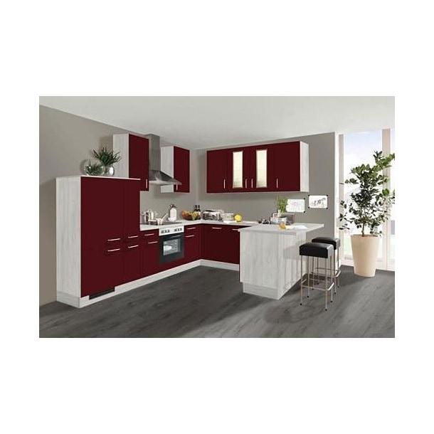 Winkelküche Polarpinie Weiß/Rot Nachbildung ca. 305 x 255 x 185 cm