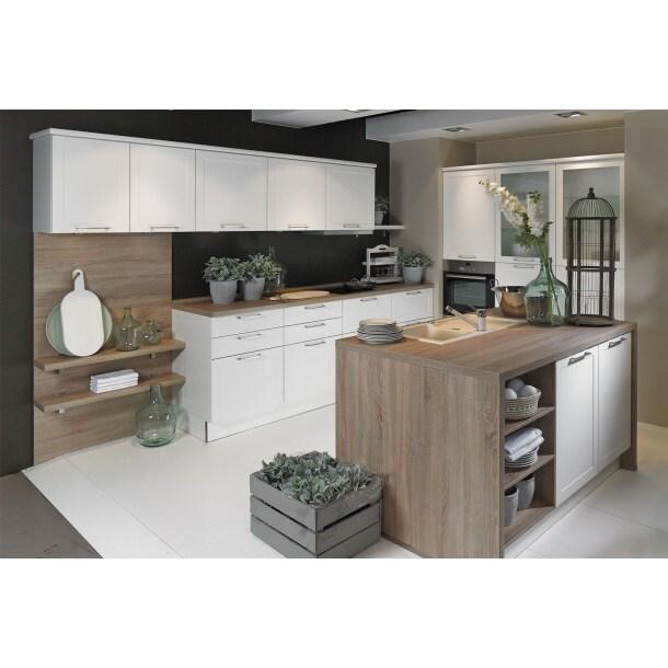 Express U-Küche Weiß matt/Eiche | Möbel Boss
