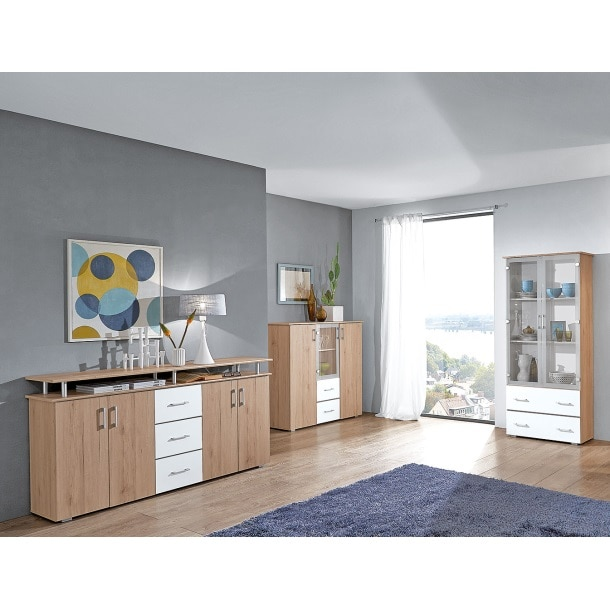 highboard lift san remo eiche hell nachbildung wei ca 180 x 90 x 40 cm m bel boss. Black Bedroom Furniture Sets. Home Design Ideas