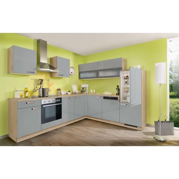 Winkelküche Lacklaminat graublau Hochglanz 275 x 245 cm
