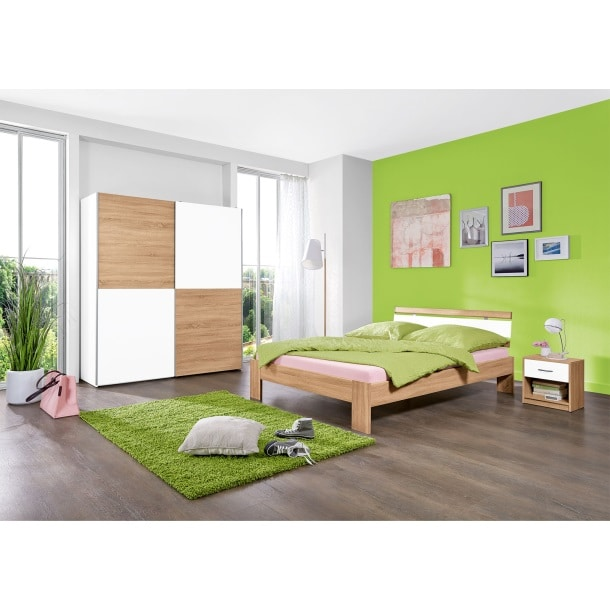 bettgestell bilbao eiche s gerau nachbildung wei ca 140 x 200 cm m bel boss. Black Bedroom Furniture Sets. Home Design Ideas