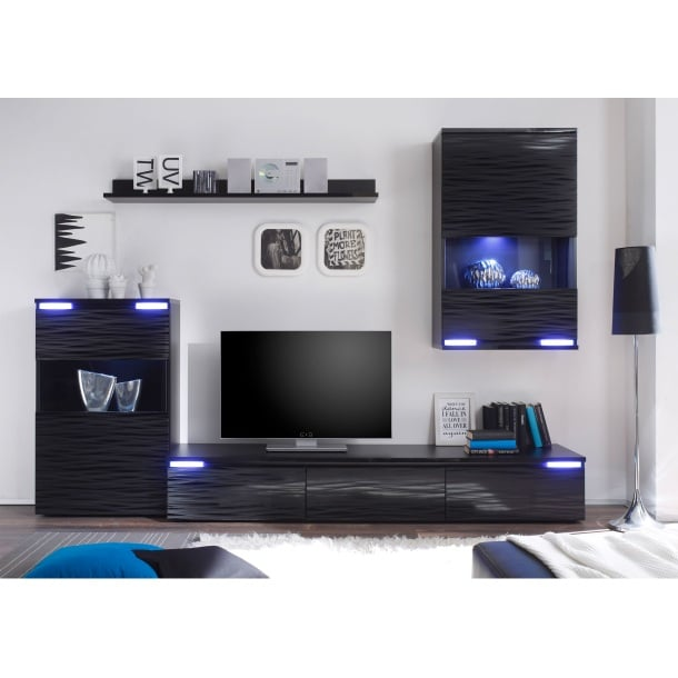 wohnwand schwarz wohnw nde wohnen m bel boss. Black Bedroom Furniture Sets. Home Design Ideas