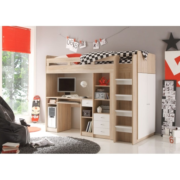 hochbett unit ii eiche sonoma wei nachbildung ca 90 x. Black Bedroom Furniture Sets. Home Design Ideas