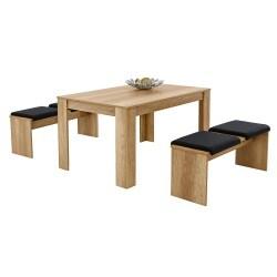 3-teilig - 1 Tisch - 2 Bänke