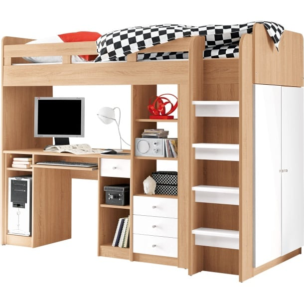 hochbett unit ii eiche sonoma wei nachbildung ca 90 x 200 cm m bel boss. Black Bedroom Furniture Sets. Home Design Ideas