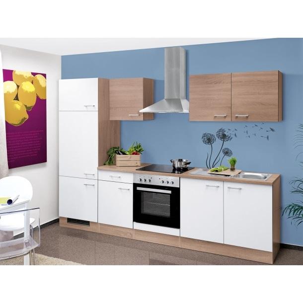 Küchenblock Samoa Weiß/Eiche Nachbildung 270 cm