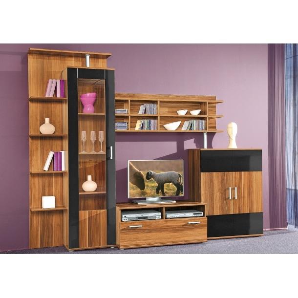 wohnwand nussbaum schwarz ca 275 x 210 x 50 cm wohnw nde wohnen m bel boss. Black Bedroom Furniture Sets. Home Design Ideas