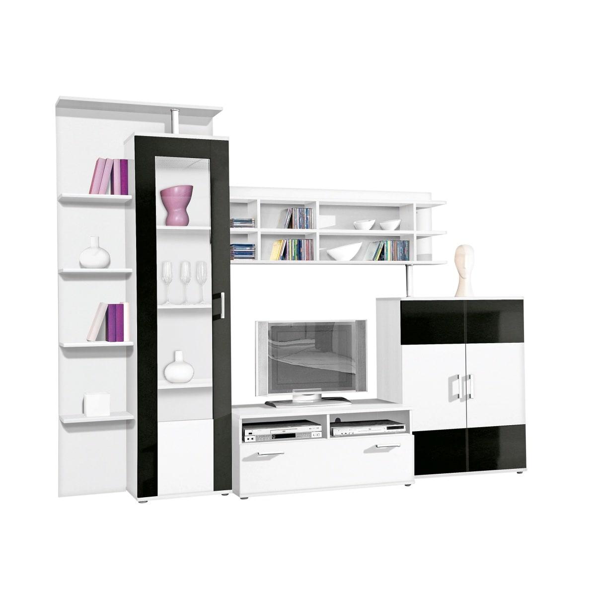 wohnwand fable wei schwarz wohnw nde wohnen m bel boss. Black Bedroom Furniture Sets. Home Design Ideas