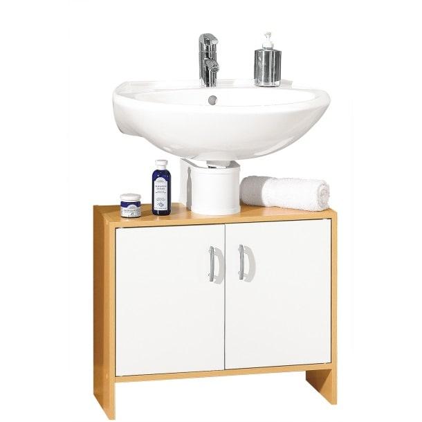 Waschbeckenunterschrank Solo Weiß/Buche Nachbildung ca. 65 x 54,5 x 31 cm kein Bestand