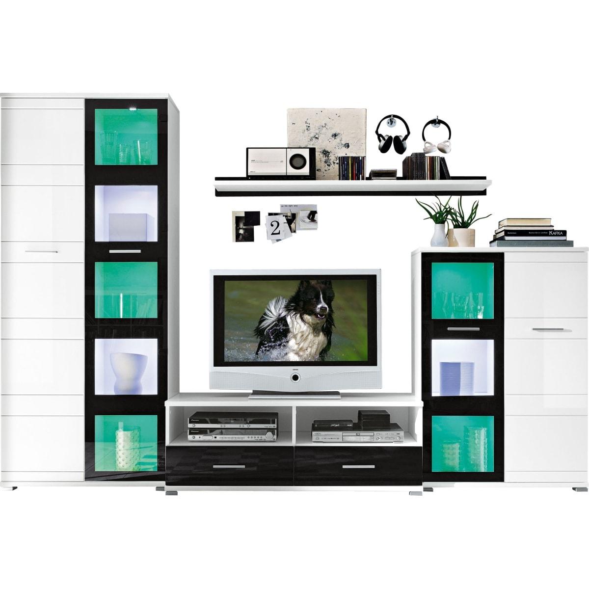 wohnwand wei schwarz wohnw nde wohnen m bel boss. Black Bedroom Furniture Sets. Home Design Ideas
