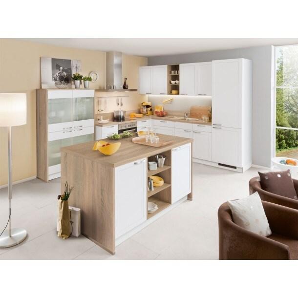 Express U-Küche Weiß matt/Bergeiche   Möbel Boss