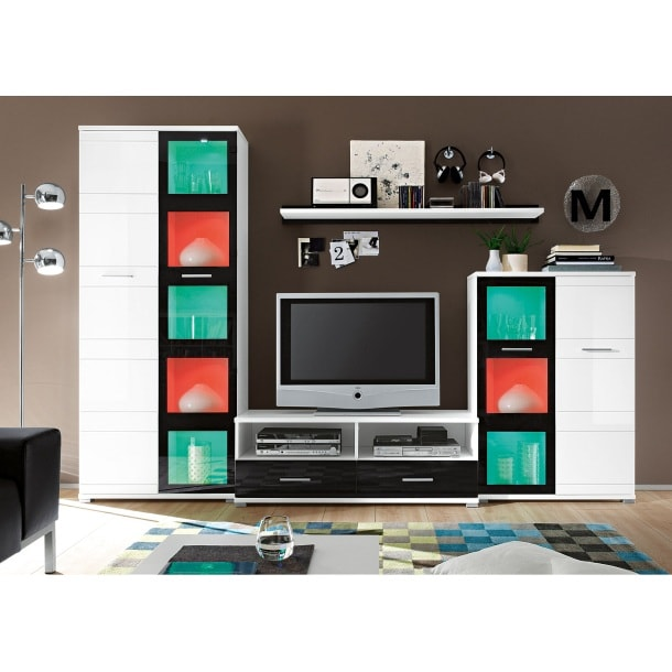wohnwand wei schwarz ca 280 x 190 x 44 cm wohnw nde. Black Bedroom Furniture Sets. Home Design Ideas