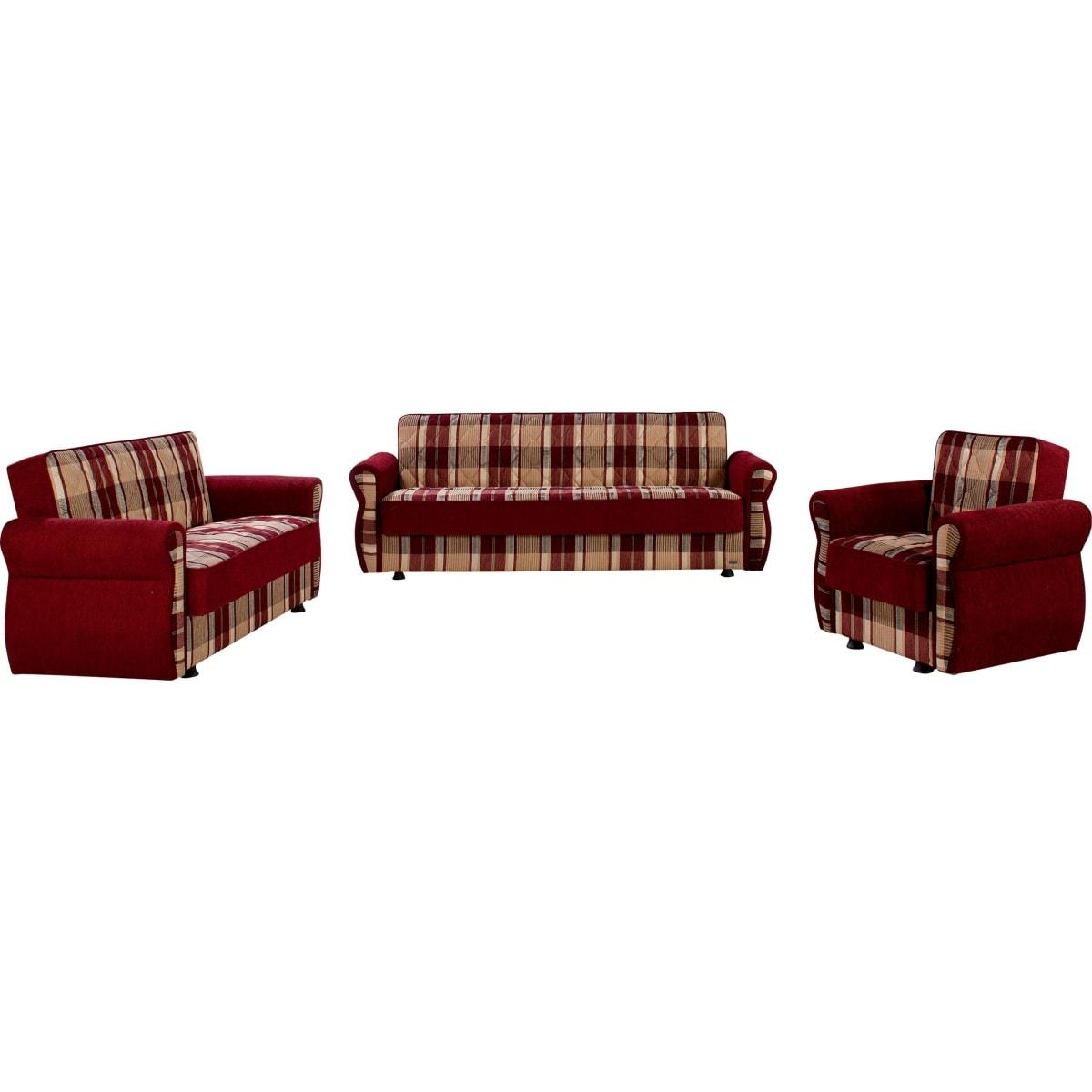 polstergarnitur rot gemustert polsterm bel wohnen. Black Bedroom Furniture Sets. Home Design Ideas