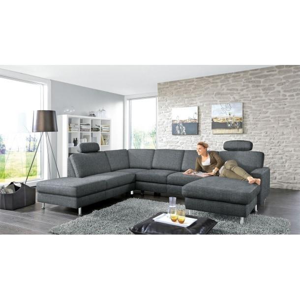 Garnitur Rho Stoffbezug Grau ca. 235 x 305 x 167 cm