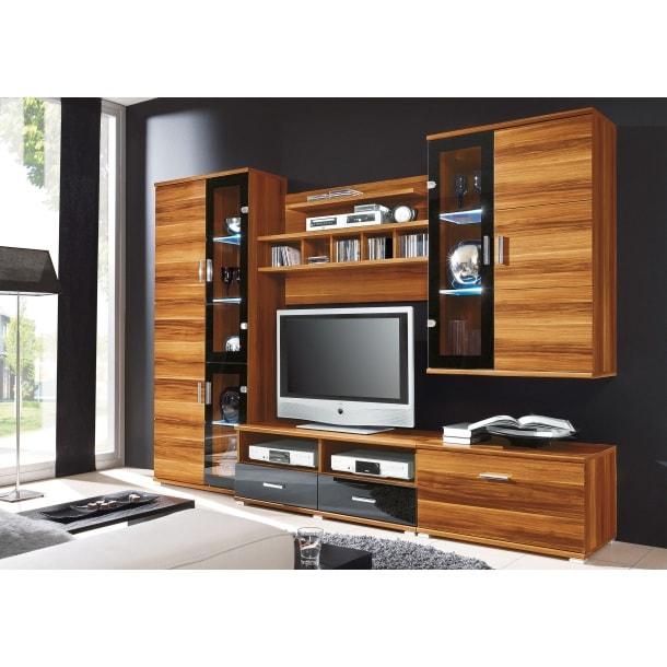wohnwand walnuss schwarz ca 260 x 180 x 45 cm wohnw nde wohnen m bel boss. Black Bedroom Furniture Sets. Home Design Ideas
