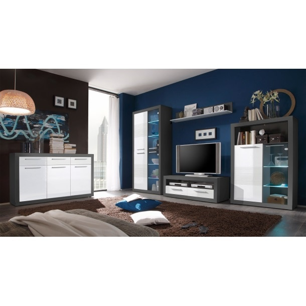 sideboard kolibri grau wei hochglanz ca 117 x 88 x 37 cm m bel boss. Black Bedroom Furniture Sets. Home Design Ideas